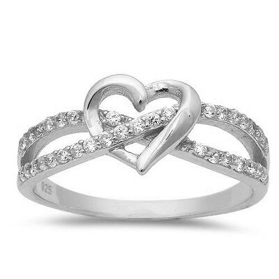 INFINITY LOVE KNOT HEART CZ Sterling Silver Promise Ring Sterling Silver 3-13