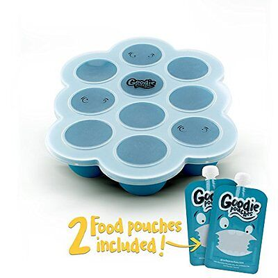 Silicone Freezer Tray for Baby Food Storage - With Bonus 2 Reusable Pouches - &