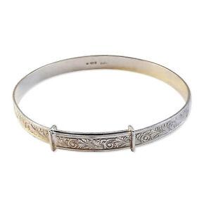 5mm Sterling Silver Ladies Expanding Bangles Engraved 7.9g Bracelet 8.5