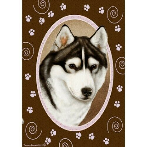 Paws House Flag - Black and White Siberian Husky 17038