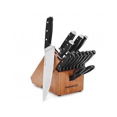 Calphalon Knife Block Set Cutlery Self Sharpening Piece 15 Wood Storage Classic