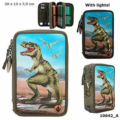 Dino World 3-fach Federtasche T-Rex LED, Federmappe, Mäppchen, Dinosaurier 10642