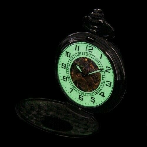 Luminous Arabic Dial Black Case Hand Winding Mechanical Pocket Watch