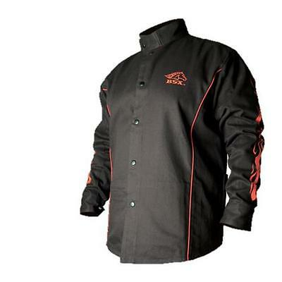 Black Stallion BSX BX9C 9oz. FR Welding Jacket Black W/ Red Flames, XL