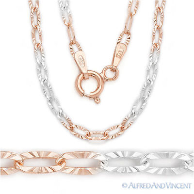 .925 Sterling Silver 14k Rose / Pink Gold Plated Cable Link Chain Necklace Italy
