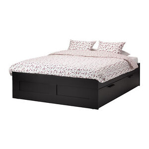 Ikea Double Bed frame with storage, black, Luröy