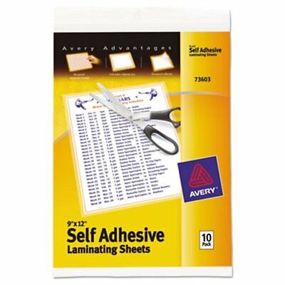 Avery Clear Self-adhesive Laminating Sheets 3 Mil 9 X 12 10pack Ave73603