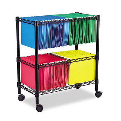 Two-tier Rolling File Cart 26w X14d X 29-12h Black