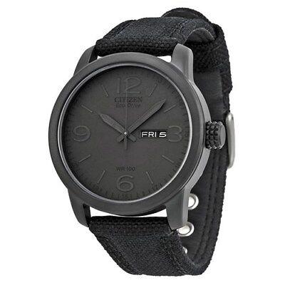 Citizen Men's Black Canvas Eco Drive Watch - BM8475-00F NEW