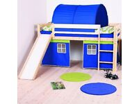 Perth Pine Cabin Mid Sleeper Bed with Play Tent + Slide