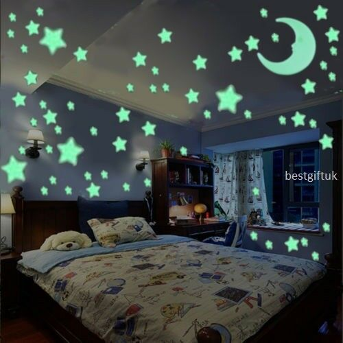 Home Decoration - 100 Wall Glow In The Dark Moon+Stars Stickers Baby Kids Nursery Bed Room Ceiling