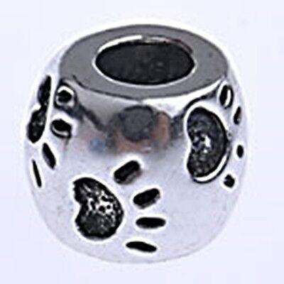 - Paw Print 10mm Antiqued Silver Barrel Large 4.8mm Hole European Charm Bead 1pc