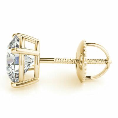 1 carat Round Diamond Stud 18k Yellow Gold Earring E Internally Flawless GIA 1