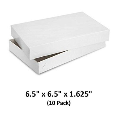 White Gloss Cardboard Apparel Decorative Gift Boxes 6.5x6.5x1-58 10 Pack