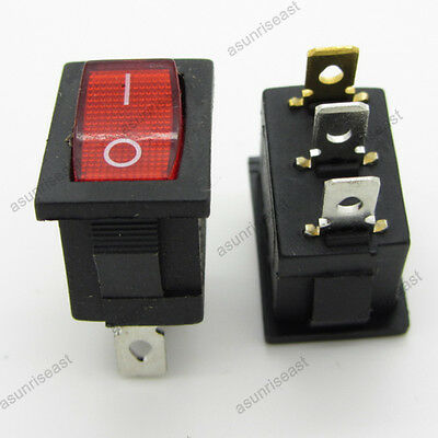 5 Mini Red 3 Pin Spst On-off Rocker Switch With Neon Lamp
