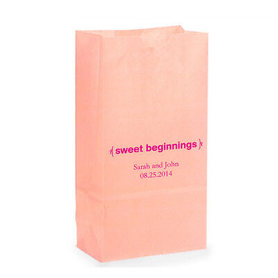 50 Sweet Beginnings Personalized Wedding Favor Bags Candy Buffet