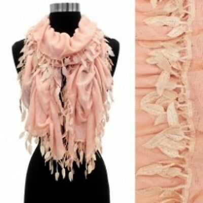 Embroidered Leaves Scarf (Leaf Fashion Scarf, Pink, Textured Scarf, Stretch Style, Embroidered)
