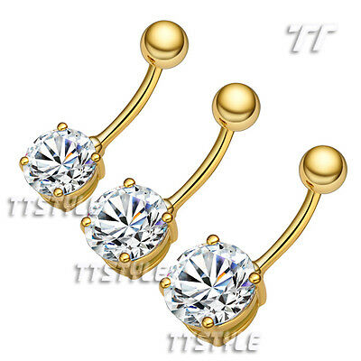 TTstyle 14K Gold GP Clear CZ Round Belly Button Ring Choose Size 6mm-12mm ()