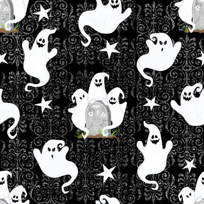 Ghostly Glow Town Ghost on Black Grave Stones Stars Brocade Halloween Fabric ()