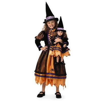 Orange Witch Costume (NEW MY TWINN GIRL'S ORANGE WITCH COSTUME W/ HAT HALLOWEEN DRESS UP NIP SIZE L)