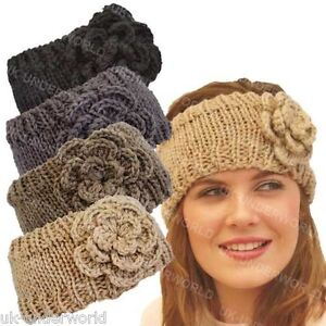ladies womens girls knitted rose headband hair band ski. Black Bedroom Furniture Sets. Home Design Ideas