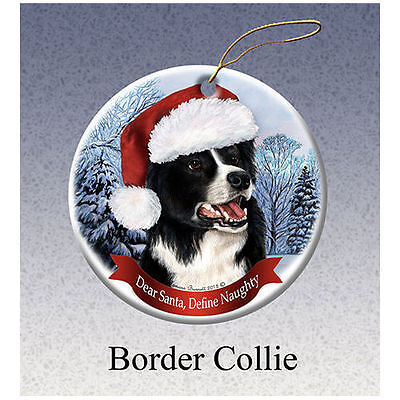 Border Collie Howliday Porcelain China Dog Christmas Ornament