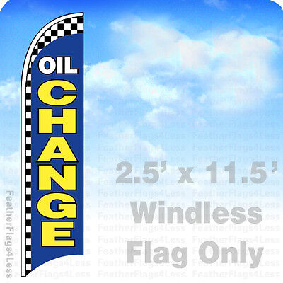 Oil Change - Windless Swooper Flag Feather Banner Sign 2.5x11.5 - Checkered Bb