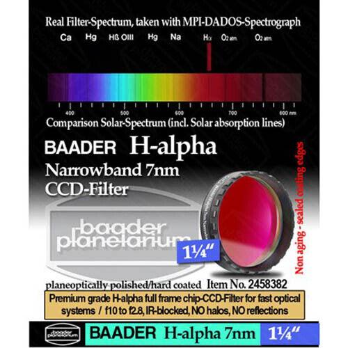 """Baader 1.25"""" Narrowband H-Alpha Filter (7nm) # FHALN-1 2458382"""