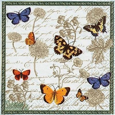 4 x Paper Napkins - Vintage Butterflies - Ideal for Decoupage / Napkin Art