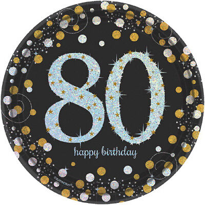 SPARKLING CELEBRATION 80th Birthday SMALL PAPER PLATES (8) ~ Party Supplies Cake ()