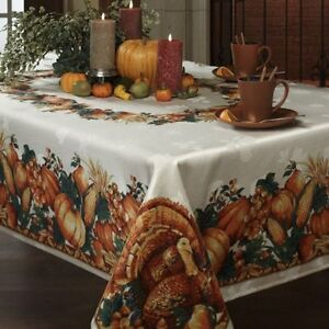 Benson Mills Harvest Thanksgiving Holiday Printed Fabric Tablecloth, 60