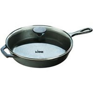 NEW LODGE L10SKG3 12 INCH SKILLET FRY PAN WITH GLASS LID CAST IRON NEW IN BOX