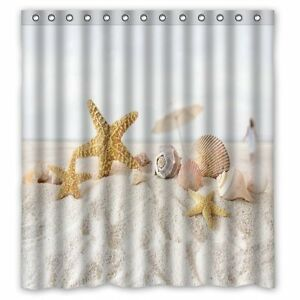 NEW Beach Theme Shower Curtain Sea Shells Star Fish Sand Polyester Washable