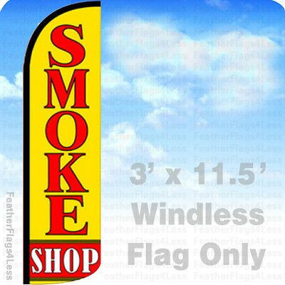 Smoke Shop - Windless Swooper Feather Flag 3x11.5 Banner Sign - Yq