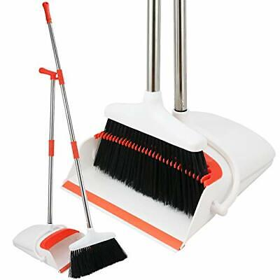 Broom And Dustpan Upright Standing Dust Pan Extendable Broomstick Home Kitchen