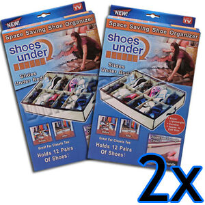 NEW 2 X SHOE TIDY ORGANIZER STORAGE UNDER BED CLOSET DECLUTTER STORER 12 PAIRS