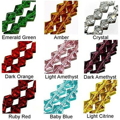 - WHOLESALE GLASS BEADS FACET BICONE 9 COLORS AMBER RED BLUE GREEN PURPLE 6MM 4MM