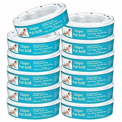 Neutrashield Diaper Pail Refill Bags, Fits All Diaper Genie Pails - 12 Pack