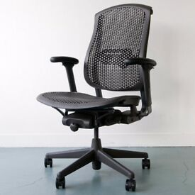 8 - HERMAN MILLER CELLE - TOP QUALITY TASK CHAIRS - IN DARK GREY -VG COND - 5 YEAR GUARANTEE