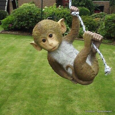 Gartenfigur Affe am Seil 127614 Haus Garten Deko lebensecht Figur