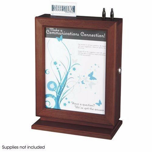 Suggestion Box - Safco 4236mh, Customizable Locking Wood, Mahogany Finish