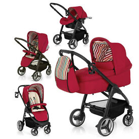 HAUCK LACROSSE FULL TRAVEL SYSTEM CHILLI RED PRAM PARENT FACING PUSHCHAIR CARSEAT CARRYCOT RAINCOVER