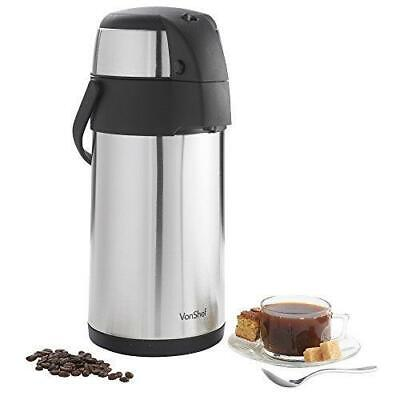 3 Liter Thermal Coffee AirPot Dispenser Thermos Hot Cold Pump Stainless - Coffee Pump