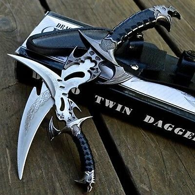 2pc FANTASY CLAW Fixed Blade KNIFE TWIN DAGGER Set Draco w/ SHEATH