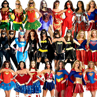 Superhero Ladies Fancy Dress Marvel DC Comic Book Day Womens Adults Costume New (Marvel Comic Fancy Dress Kostüme)