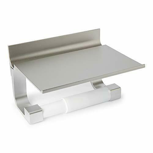 Toilet Paper Holder with Overhead Shelf - Silver Metal Modern Minimalist