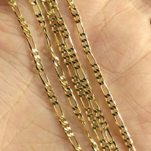 """18k Gold Plated 2mm Italian Figaro Link Chain Necklace 22 """""""