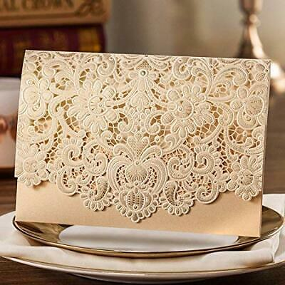 Gold Laser Cut Wedding Invitations Card Kit with Envelopes Personalized Printing](Gold Invitations)