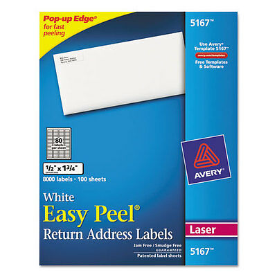Avery Easy Peel Laser Address Labels 12 X 1-34 White 8000box - Ave5167