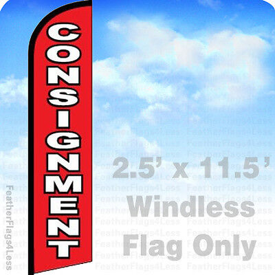 Consignment Windless Swooper Feather Flag Banner Sign 2.5x11.5 - Rf